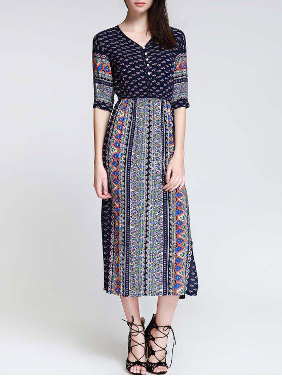 new Tea Length Printed Side Slit Dress - BLUE L
