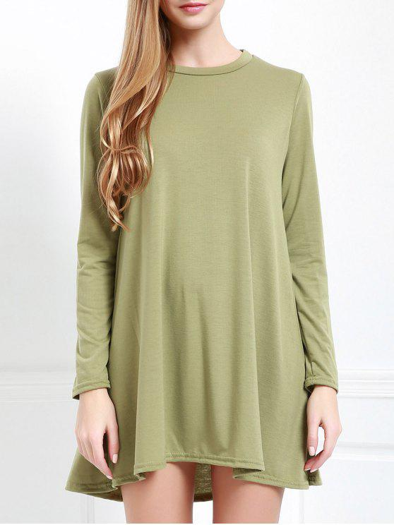 online Long Sleeve Open Back Swing Dress - ARMY GREEN M
