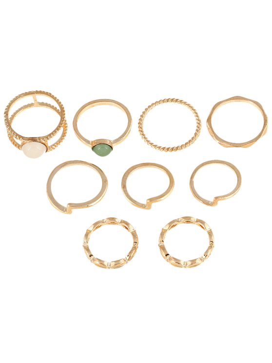 new 9 PCS Gold Plated Fake Gemstone Rings - GOLDEN