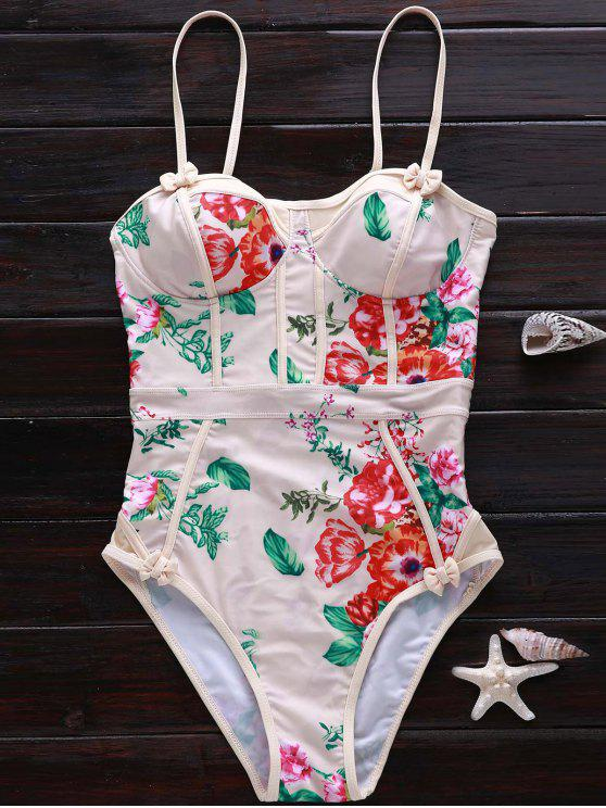 women's Spaghetti Strap Floral One-Piece Swimwear - KHAKI S