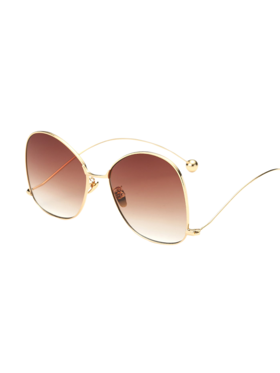 women Small Ball Wave Leg Irregular Sunglasses - GOLDEN
