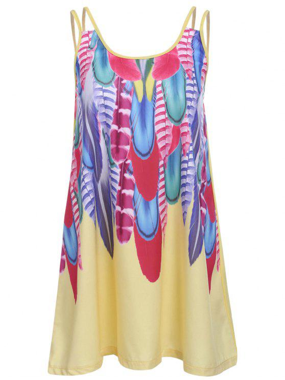 hot Feather Print Cami Dress - YELLOW S