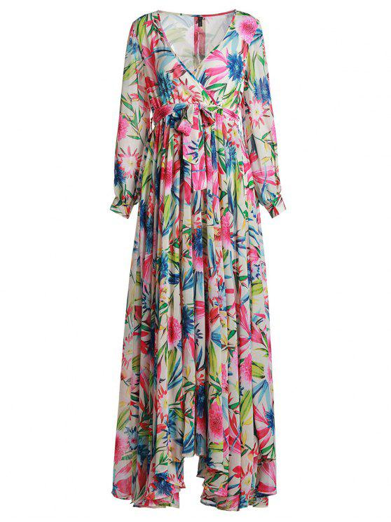 best Full Floral Long Sleeve Maxi Dress - COLORFUL L