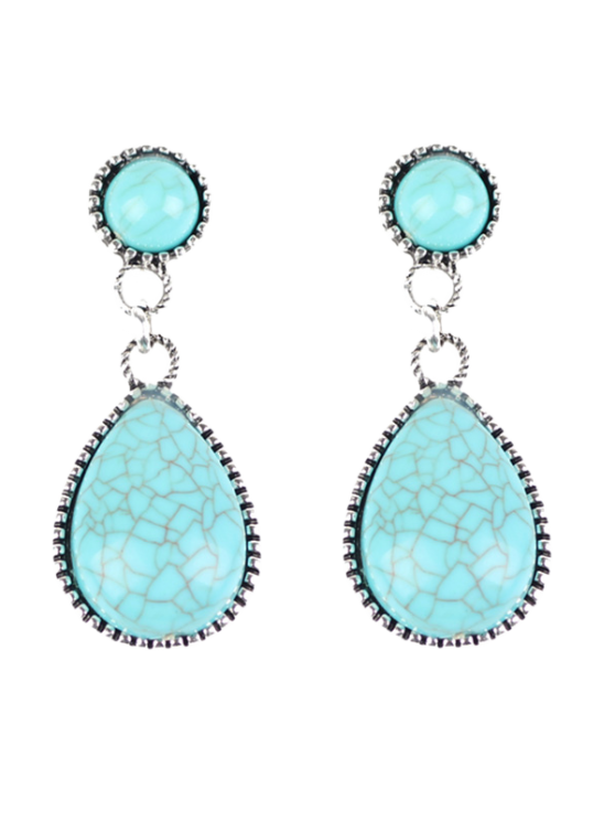 fashion Bohemian Faux Turquoise Water Drop Earrings - WINDSOR BLUE