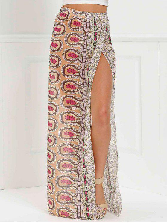 hot High Slit Printed Long Skirt - PINK L