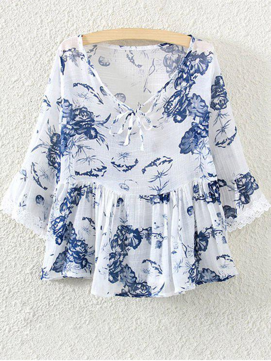 Lace Insert Floral Skirted Blouse - Blanco Un tamaño(Montar tam