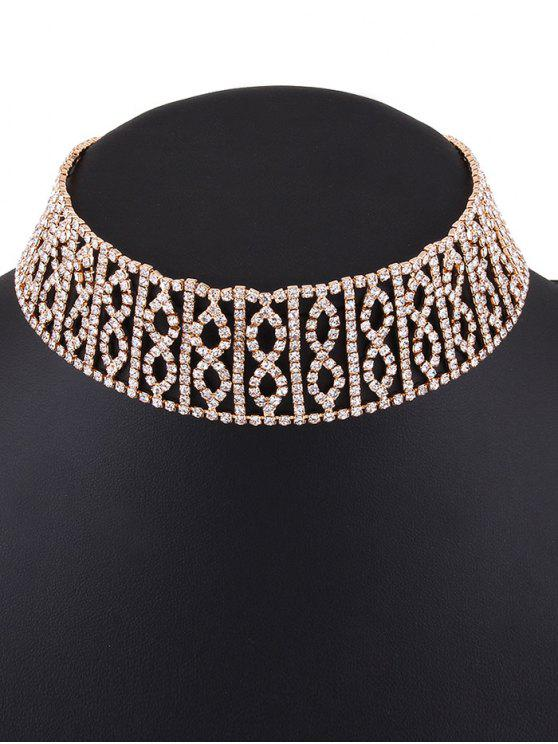 hot Hollow Out Rhinestone Infinity Choker - GOLDEN