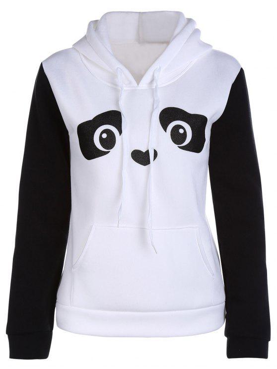 Hoodie à manches longues à motif de panda - Blanc S