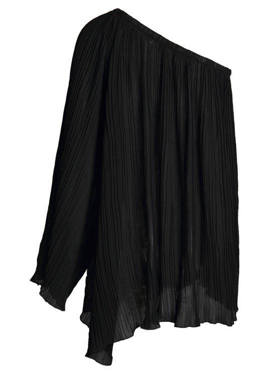 women's Black Chiffon Oblique Shoulder Long Sleeve Dress - BLACK L