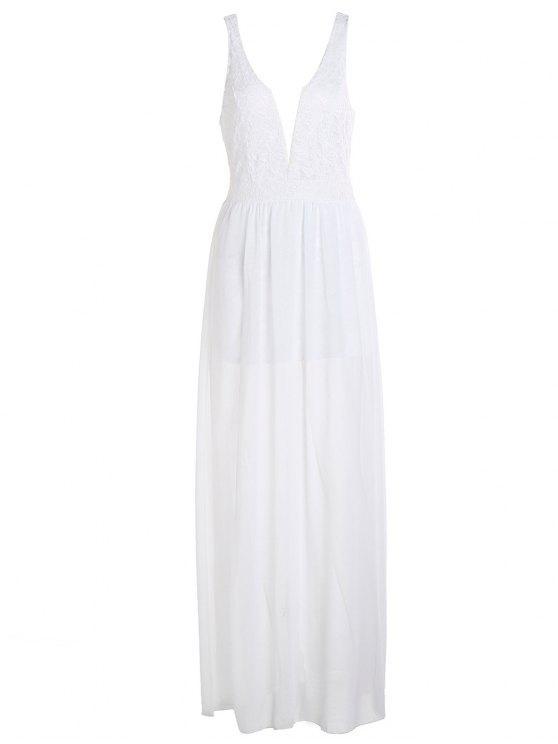 fancy Crochet Flower Chiffon Prom Plunge Dress - WHITE M