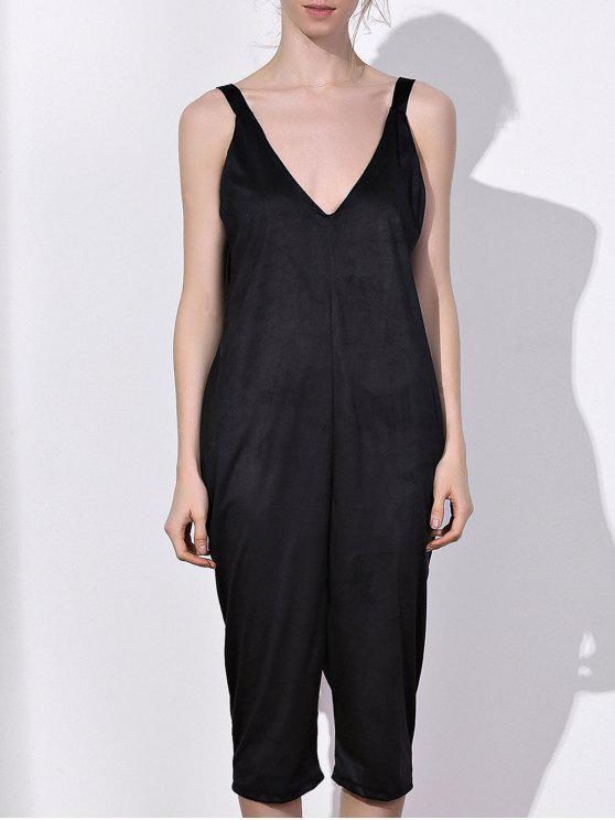 fancy Oversized Minimal Jumpsuit - BLACK M
