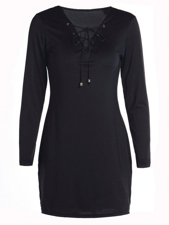 shop Long Sleeves Lace Up Bodycon Dress - BLACK S