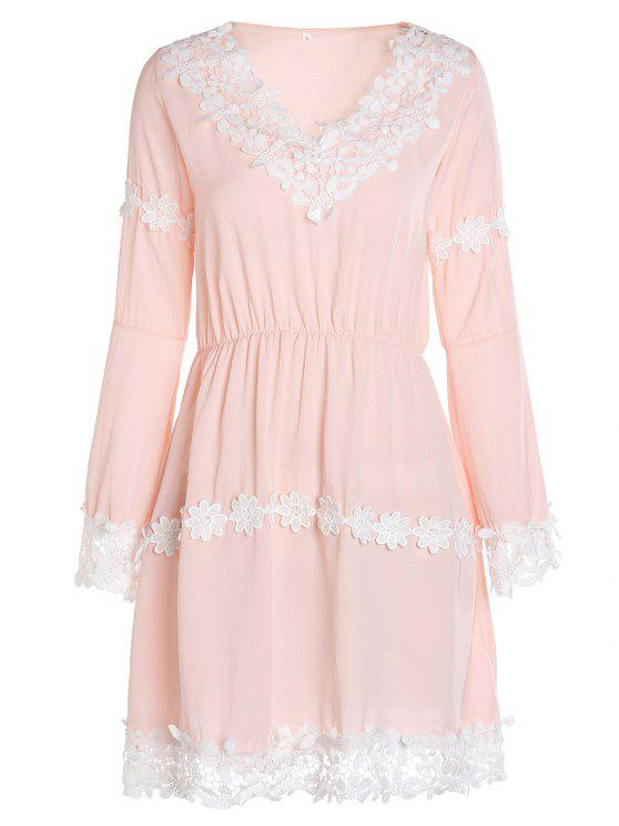 ladies Crochet Floral Applique Chiffon Dress - PINK S