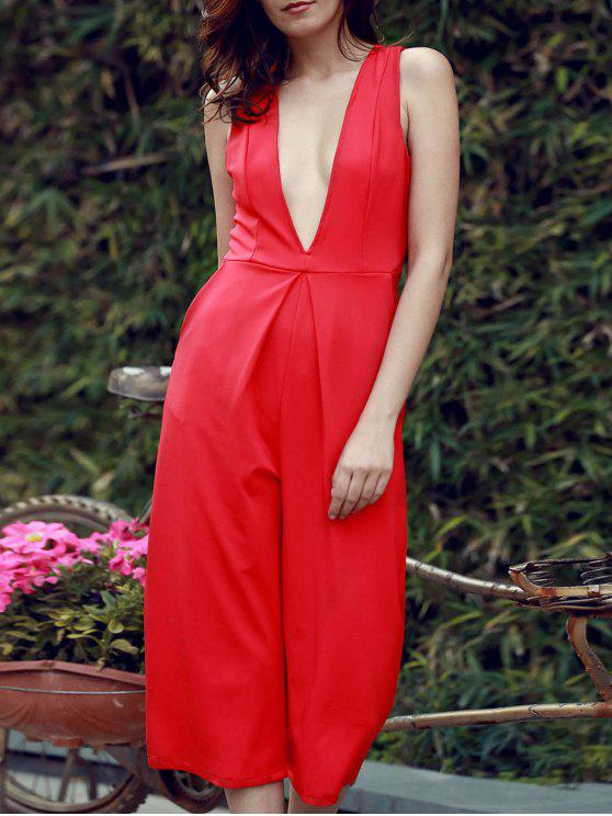 chic Plunging Neck Wide Leg Cropped Jumpsuit - RED S