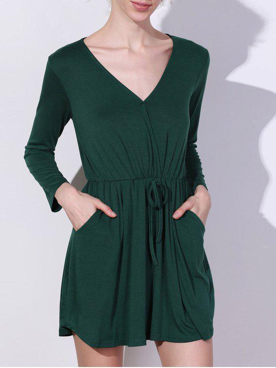 best V Neck Mini Pocket Dress - GREEN S