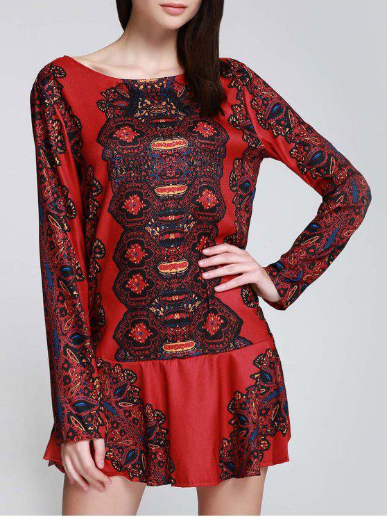 ladies Long Sleeve Printed Tunic Dress - RED S