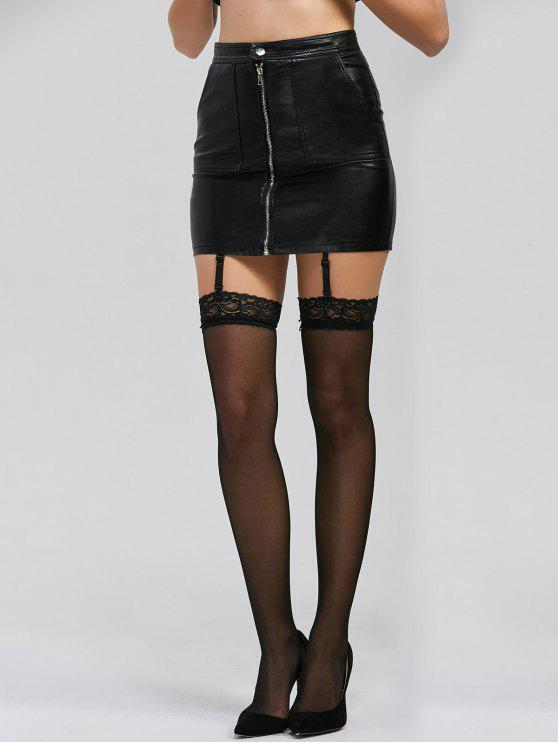 Lace Insert See Thru Over Knee Garter - Black