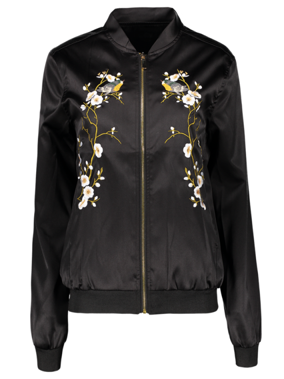 Embroidered baseball jacket black jackets coats l zaful