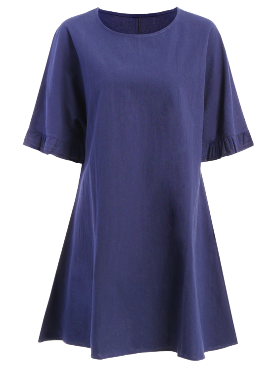 online Bell Sleeve A-Line Ruffle Dress - PURPLISH BLUE 2XL