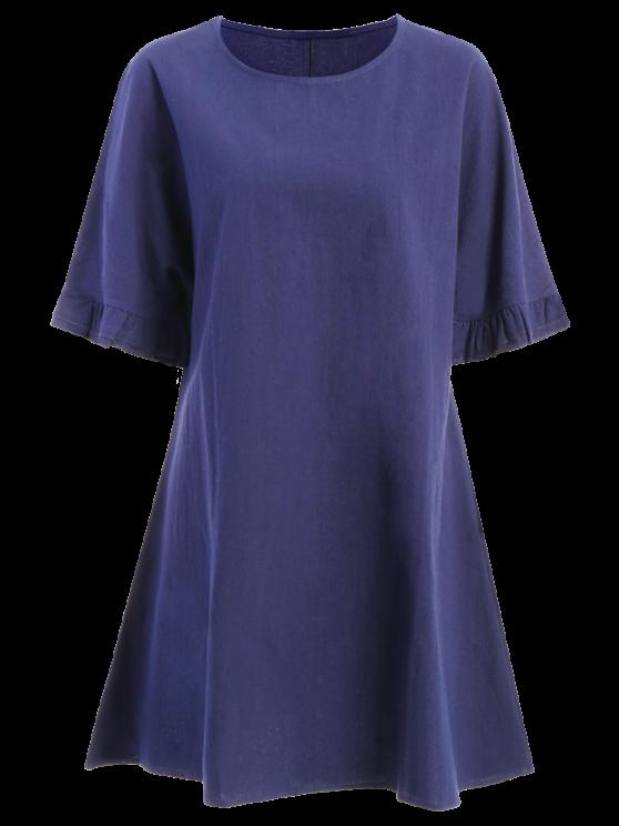 online Bell Sleeve A-Line Ruffle Dress - PURPLISH BLUE 2XL