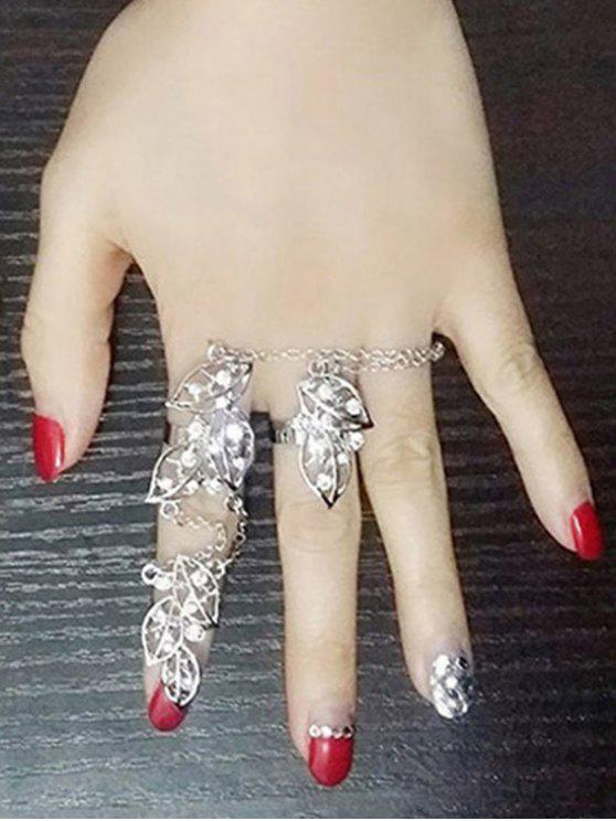outfit Alloy Rhinestone Foliage Ring - SILVER ONE-SIZE