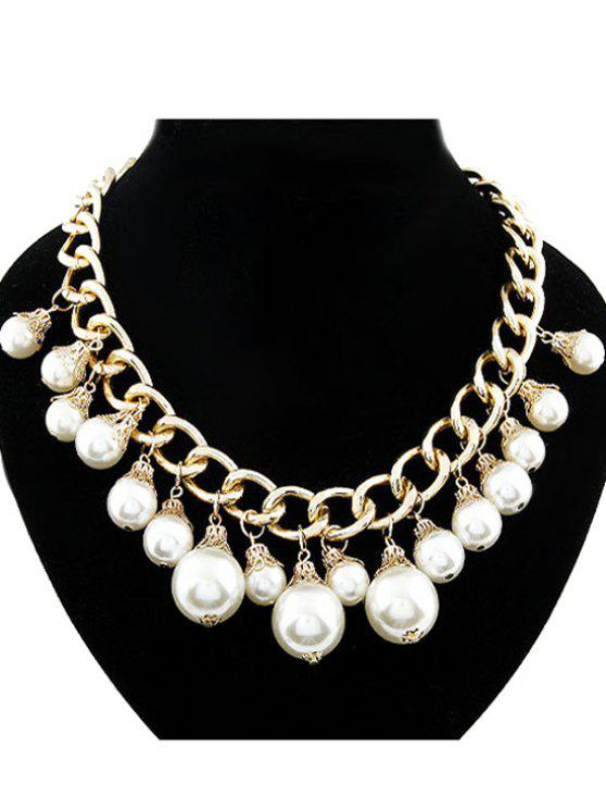 outfits Faux Pearl Hollow Out Chunky Necklace - GOLDEN