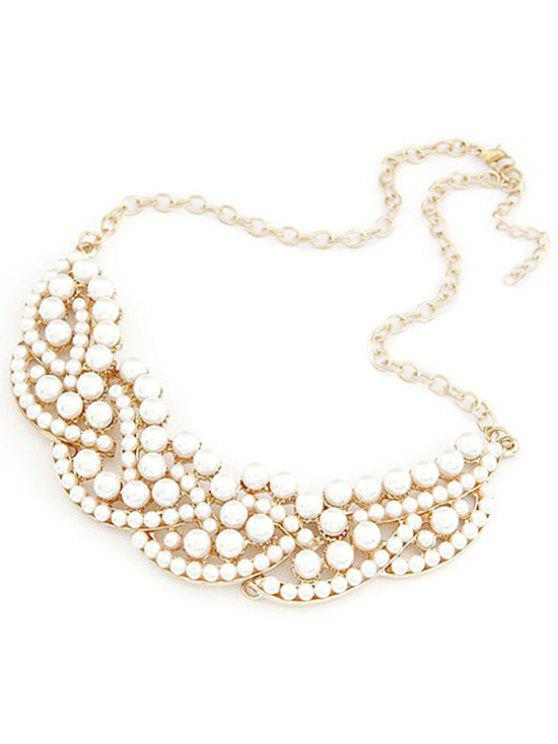 buy Faux Pearl Hollow Out Statement Necklace - GOLDEN