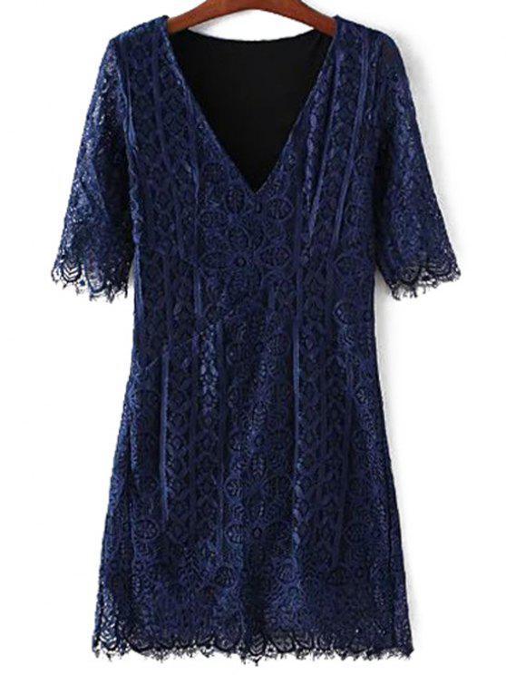 Robe moulante en dentelle à col en V - Bleu Violet M