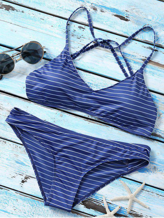 Ensemble de bikini rembourré à bretelles - Bleu Violet S