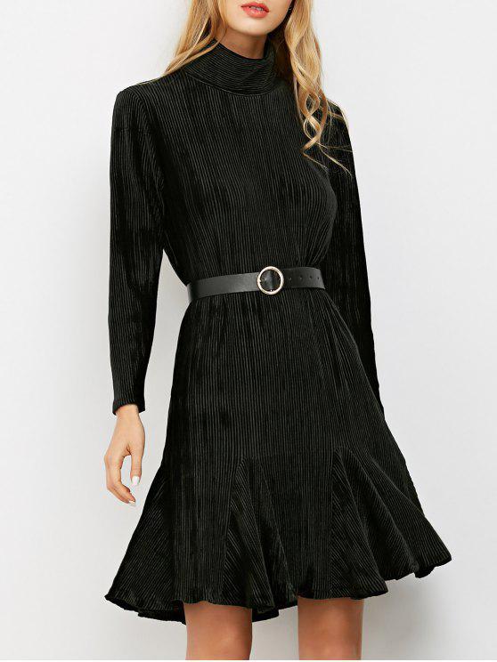 lady Ribbed Mock Neck Long Sleeve Ruffle Dress - BLACK M