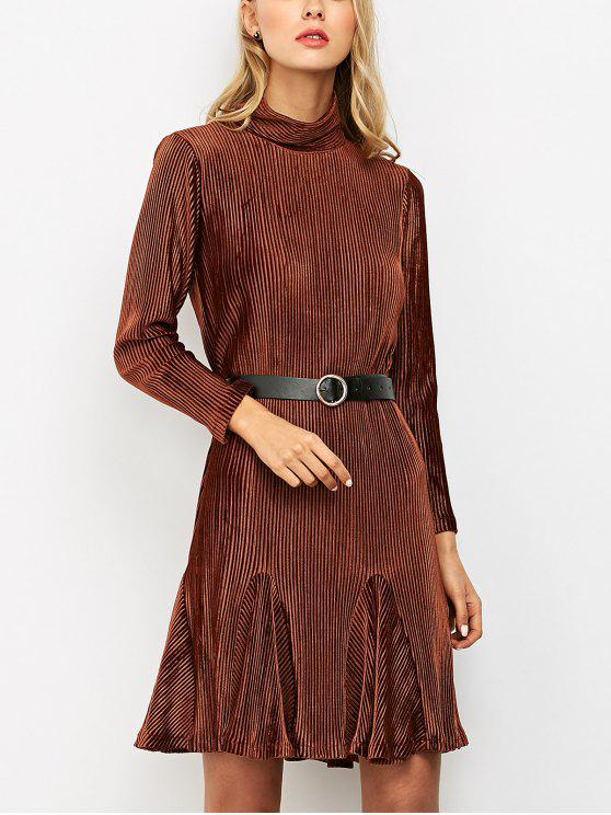 affordable Ribbed Mock Neck Long Sleeve Ruffle Dress - BROWN XL