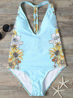 Sunflower Print Plunge Swimsuit - Light Blue Xl