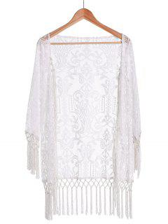 Tassels Spliced Lace White Sunscreen Blouse - White Xl