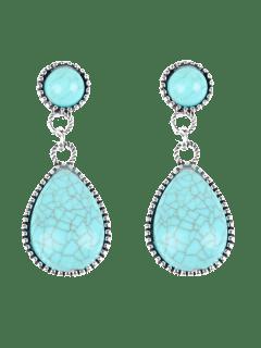 Bohemian Faux Turquoise Water Drop Earrings - Windsor Blue
