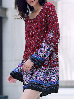Long Sleeve Printed Peasant Dress - Red L