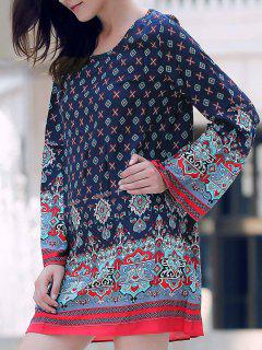 Long Sleeve Printed Peasant Dress - Purplish Blue S