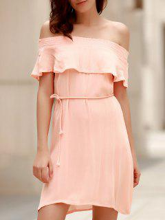 Off-The-Shoulder Belted Pink Dress - Light Pink Xl