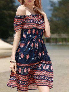 Retro Floral Print Sleeveless Off The Shoulder Dress - Purplish Blue L