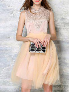 Embroidery Voile Splicing Round Neck Sleeveless Dress - Apricot L