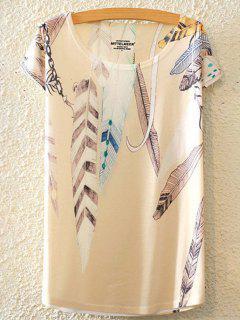 T Shirt Imprimé Plumes Col Rond Manches Courtes - Blanc