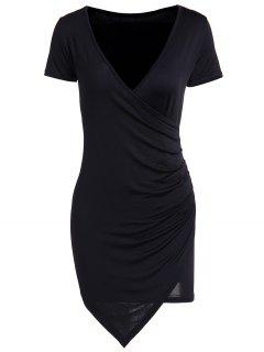 Solid Color Short Sleeve Bodycon Dress - Black 2xl