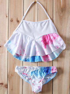 Halter Ruffles Tie Dye Bikini - White L