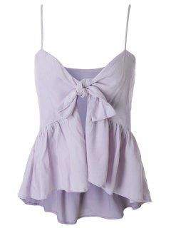 Spaghetti Strap Tie Knot Pepleum Tank Top - Light Purple 2xl