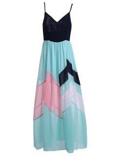 Color Block High Waisted Maxi Slip Beach Dress - Blue And Black L