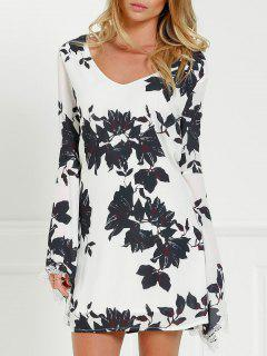Black Floral Long Sleeve Cut Out Dress - White And Black M