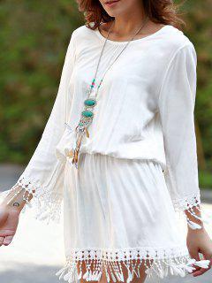 Beach Blouson Dress Cover Up - White