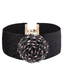 Beads Flower Fake Cashmere Choker - Black