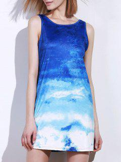 Ombre Print Sleeveless Dress - Blue And White L