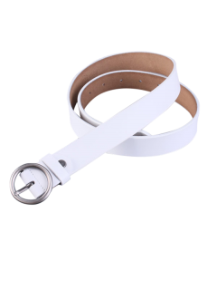 Round Pin Buckle Faux Leather Belt - White