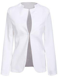 Notched Solid Color Long Sleeve Blazer - White Xl